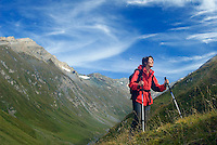 Pragraten am Grossvenediger, East Tyrol, Austria, September 2009. we hike up from the Jagdhaus alm Alpine pasture, over the Schwarzes Torl pass to the Clara Hut in the Umbaltal Valley. The new 360 degree Ost Tirol hiking trail runs partly through the High Tauern National Park and is a unique high alpine trail of 360 kilometer. Photo by Frits Meyst/Adventure4ever.com