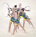 United States team group (USA),<br /> AUGUST 20, 2016 - Rhythmic Gymnastics :<br /> Group All-Around Qualification, Rotation 2 Clubs and Hoop at Rio Olympic Arena during the Rio 2016 Olympic Games in Rio de Janeiro, Brazil. (Photo by Enrico Calderoni/AFLO SPORT)