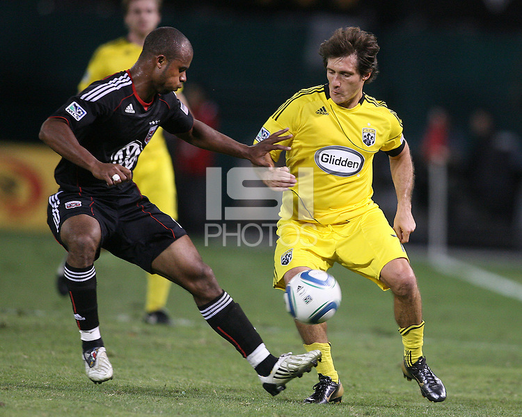 Julius James #2 of D.C. United gets the ball from Guillermo Barros Schelotto #7 of the Columbus Crew during an MLS match at RFK Stadium on September 4 2010, in Washington DC. Columbus won 1-0.