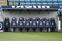 Red crosses and green ticks on the seats in the home dugout to indicate which are in use during Millwall vs Swansea City, Sky Bet EFL Championship Football at The Den on 30th June 2020