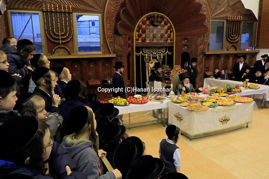 Israel, Bnei Brak, Rabbi Meir Rosenbaum presides over the Tu B'shvat tish at the Premishlan congregation