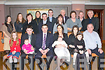 BABY JOY: Proud parents Michael and Norah Brady Crotta, Kilflynn of little Jack who was Christening in St Mary's Church, Kilflynn on Saturday celebrating afterwards with family and friends in the Ballygarry House Hotel and Spa seated l-r: Sophie Brady, Jerry and Emily Malony, Michael, Norah, Jack, Danielle, Clodagh and Michael (snr) Brady. Back l-r: Siobhan Darby, Helen Potterton. Eileen Brady, Mary Mahony, Thomas, David and Aishling Brady, Tom and Sheila Walsh, Kieran McLoughlin and Fr Jack Fitzgerald.