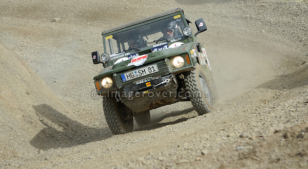 Volkswagen Iltis, racing at the Rallye Dresden Breslau 2007, speeding through a steep turn. --- No releases available. Automotive trademarks are the property of the trademark holder, authorization may be needed for some uses.