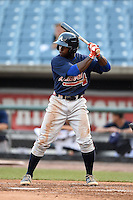 Alonzo Jones Jr. of Columbus High School in Columbus, Georgia playing for the Atlanta Braves scout team during the East Coast Pro Showcase on August 1, 2014 at NBT Bank Stadium in Syracuse, New York.  (Mike Janes/Four Seam Images)
