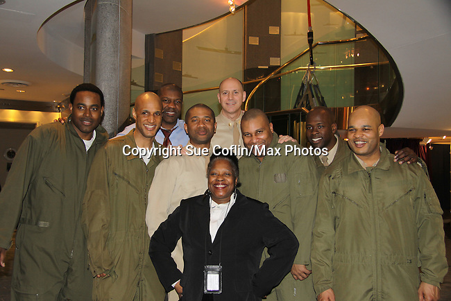 Lamman's aunt with Cast L to R - Lamman Rucker, Thom Scott II, David Boykins, Layon Gray, David Roberts, Melvin Huffnagle - Back Row: Thaddeus Daniels & Steve Brustien - Layon Gray's Black Angels Over Tuskegee was performed on February 25, 2011 at the United States Memorial in Washington, DC to celebrate Black History Month. (Photo by Sue Coflin/Max Photos)