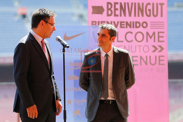 Presentation of Ernesto Valverde as new Coach of FC Barcelona.<br /> Josep Maria Bartomeu &amp; Ernesto Valverde.