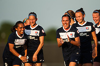 Sky Blue FC forward Lisa De Vanna (11) celebrates scoring with teammates . Sky Blue FC defeated the Boston Breakers 5-1 during a National Women's Soccer League (NWSL) match at Yurcak Field in Piscataway, NJ, on June 1, 2013.