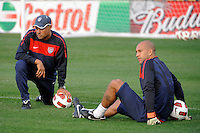 Goalkeeper coach Zak Abdel and goalkeeper Tim Howard of the United States (USA) men's national team during a practice session at PPL Park in Chester, PA, on October 11, 2010.