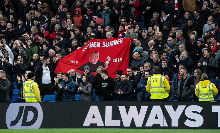 Liverpool fans remembering a friend <br /> <br /> Photographer David Horton/CameraSport<br /> <br /> The Premier League - Brighton and Hove Albion v Liverpool - Saturday 12th January 2019 - The Amex Stadium - Brighton<br /> <br /> World Copyright © 2018 CameraSport. All rights reserved. 43 Linden Ave. Countesthorpe. Leicester. England. LE8 5PG - Tel: +44 (0) 116 277 4147 - admin@camerasport.com - www.camerasport.com