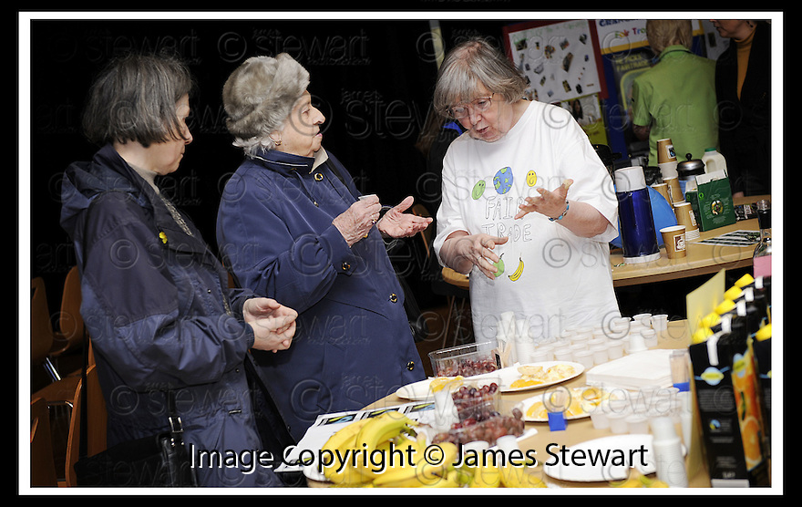 14/03/2008    Copyright Pic: James Stewart.File Name : 47_fair_trade.FAIR TRADE EXHIBITION :: LESSER TOWN HALL :: 13TH MARCH 2008.VISITORS TRY OUT AND DISCUSS THE FAIR TRADE PRODUCTS ON SHOW....James Stewart Photo Agency 19 Carronlea Drive, Falkirk. FK2 8DN      Vat Reg No. 607 6932 25.Studio      : +44 (0)1324 611191 .Mobile      : +44 (0)7721 416997.E-mail  :  jim@jspa.co.uk.If you require further information then contact Jim Stewart on any of the numbers above........