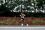 Khalid Khannouchi runs through Central Park while competing in the 2008 Men's Olympic Trials Marathon on November 3, 2007 in New York, New York.  The race began at 50th Street and Fifth Avenue and finished in Central Park.  Ryan Hall won the race with a time of 2:09:02.