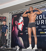 6th October 2017, Radisson Edwardian Hotel,  Manchester, England; Anthony Crolla versus Ricky Burns Weigh-in and Press Conference;  Saidou Sall makes the weight before his fight with Hosea Burton