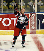 "January 9th, 2009:   Jon ""Nasty"" Mirasty (41) of the Syracuse Crunch during pre-game warm-up before a game vs. the Rochester Amerks at Blue Cross Arena in Rochester, NY.  Rochester defeated Syracuse 3-1 for their third straight win.  Photo Copyright Mike Janes Photography 2009"
