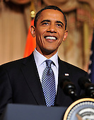 United States President Barack Obama makes remarks at a reception in honor of Foreign Minister S.M. Krishna of India (not pictured) at the State Department  in Washington, D.C. on Thursday, June 3, 2010..Credit: Ron Sachs - Pool via CNP