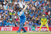 KL Rahul (India) put his first delivery high over mid wicket for six during India vs Australia, ICC World Cup Cricket at The Oval on 9th June 2019