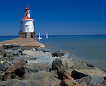 Douglan County, WI<br /> Wisconsin point lighthouse with two sail boats on Lake Superior, Allouez Bay at Superior