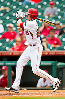 Dominic Ficociello #25 of the Arkansas Razorbacks follows through on his swing against the Texas Tech Red Raiders at Minute Maid Park on March 2, 2012 in Houston, Texas.  The Razorbacks defeated the Red Raiders 3-1.  Brian Westerholt / Four Seam Images