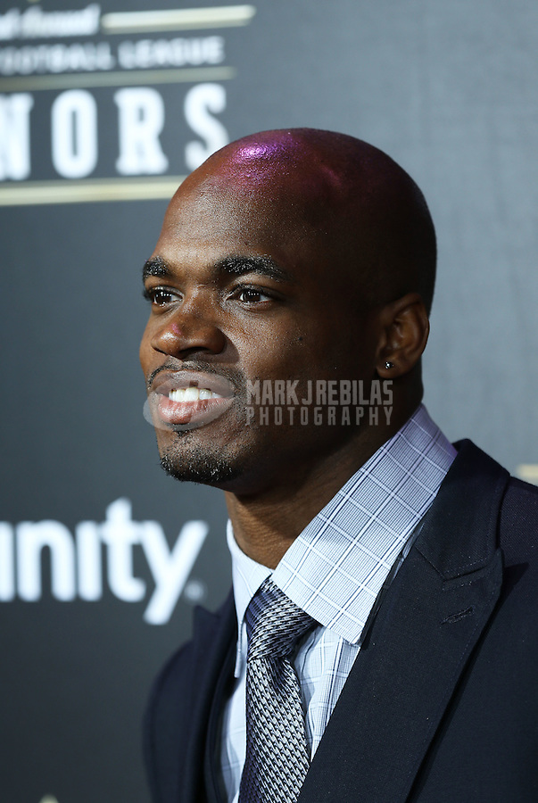 Feb. 2, 2013; New Orleans, LA, USA: Minnesota Vikings running back Adrian Peterson walks the red carpet prior to the Super Bowl XLVII NFL Honors award show at Mahalia Jackson Theater. Mandatory Credit: Mark J. Rebilas-USA TODAY Sports