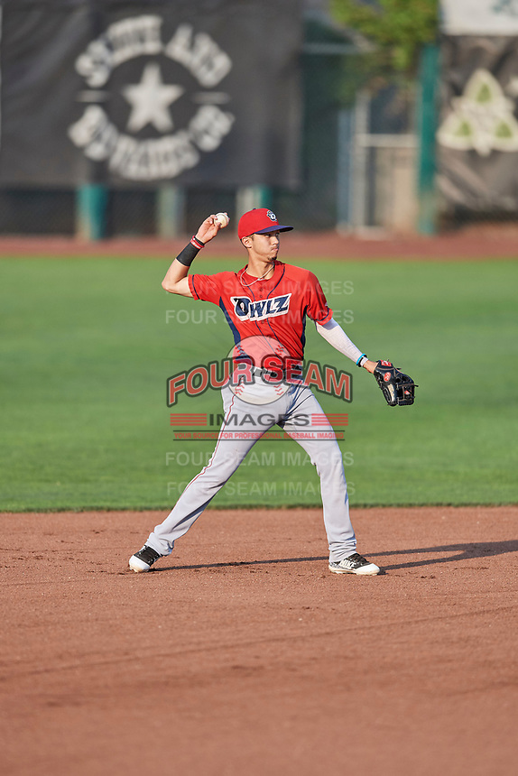 Livan Soto (7) of the Orem Owlz during a game against the Ogden Raptors at Lindquist Field on August 3, 2018 in Ogden, Utah. The Raptors defeated the Owlz 9-4. (Stephen Smith/Four Seam Images)