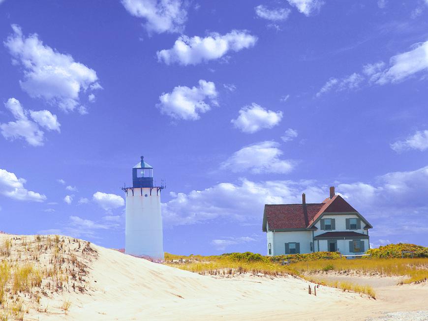 Race Point Lighthouse, Provincetown,<br /> Cape Cod Lighthouse, Photo of Race Point, Lighthouse