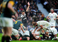 Referee Jerome Garces awards England a penalty after a strong scrum. Old Mutual Wealth Series International match between England and South Africa on November 12, 2016 at Twickenham Stadium in London, England. Photo by: Patrick Khachfe / Onside Images
