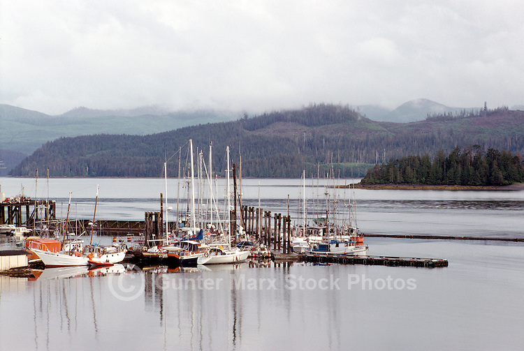 Haida Gwaii (Queen Charlotte Islands), Northern BC, British Columbia, Canada - Commercial Fishing Boats and Pleasure Boats docked at Marina, Queen Charlotte City, Graham Island