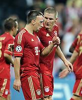 FUSSBALL   CHAMPIONS LEAGUE   SAISON 2011/2012     27.09.2011 FC Bayern Muenchen - Manchester City FC Jubel Franck Ribery,  Bastian Schweinsteiger (v. li., FC Bayern Muenchen)