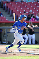 Erick Mejia (9) of the Rancho Cucamonga Quakes bats against the High Desert Mavericks at Heritage Field on August 7, 2016 in Adelanto, California. Rancho Cucamonga defeated High Desert, 10-9. (Larry Goren/Four Seam Images)