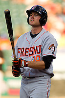 Fresno Grizzlies outfielder Roger Kieschnick #39 at bat during the Pacific Coast League baseball game against the Round Rock Express on May 19, 2012 at The Dell Diamond in Round Rock, Texas. The Grizzlies defeated the Express 10-4. (Andrew Woolley/Four Seam Images).
