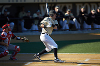 Bobby Seymour (3) of the Wake Forest Demon Deacons follows through on his swing against the Gardner-Webb Runnin' Bulldogs at David F. Couch Ballpark on February 18, 2018 in  Winston-Salem, North Carolina. The Demon Deacons defeated the Runnin' Bulldogs 8-4 in game one of a double-header.  (Brian Westerholt/Four Seam Images)