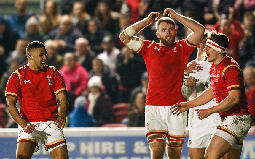 Wales U20's Keelan Giles celebrates scoring his sides fourth try<br /> <br /> Photographer Simon King/CameraSport<br /> <br /> International Rugby Union - RBS Under 20's Six Nations Championships 2016 Round 4 - England U20 v Wales U20 - Friday 11th March 2016 - Ashton Gate - Bristol<br /> <br /> &copy; CameraSport - 43 Linden Ave. Countesthorpe. Leicester. England. LE8 5PG - Tel: +44 (0) 116 277 4147 - admin@camerasport.com - www.camerasport.com