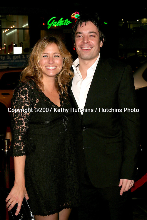"Nancy Juvonen (Drew's producing partner) & Jimmy Fallon.""Music & Lyrics"" Premiere.Mann's Grauman Theater.Los Angeles, CA.February 7, 2007.©2007 Kathy Hutchins / Hutchins Photo."
