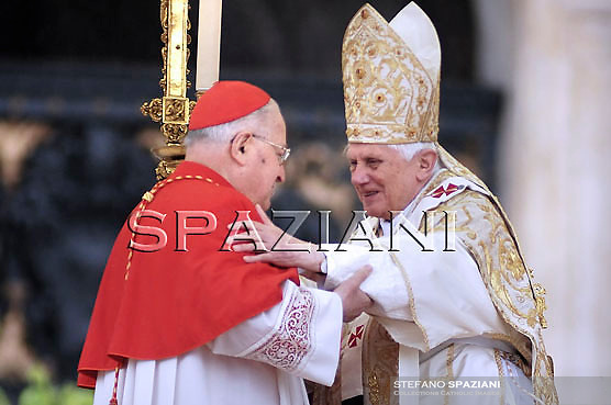 Pope Benedict XVI embraces Cardinal Angelo Sodano on the parvis of the Basilica of St. Peter to celebrate Easter Mass at the Vatican, 04 April 2010.