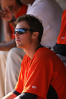 Billy Rowell #11 of the Frederick Keys in the dugout during a game against the Myrtle Beach Pelicans on May 2, 2010 in Myrtle Beach, SC.