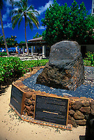 "The Stones of Life (Na Pohaku Ola Kapaemahu Kapuni) also reffered to as the  """"Wizard stones"""" located along the Waikiki Historic Trail."