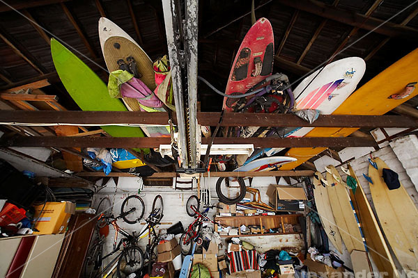 A garage full of adventure gear<br />