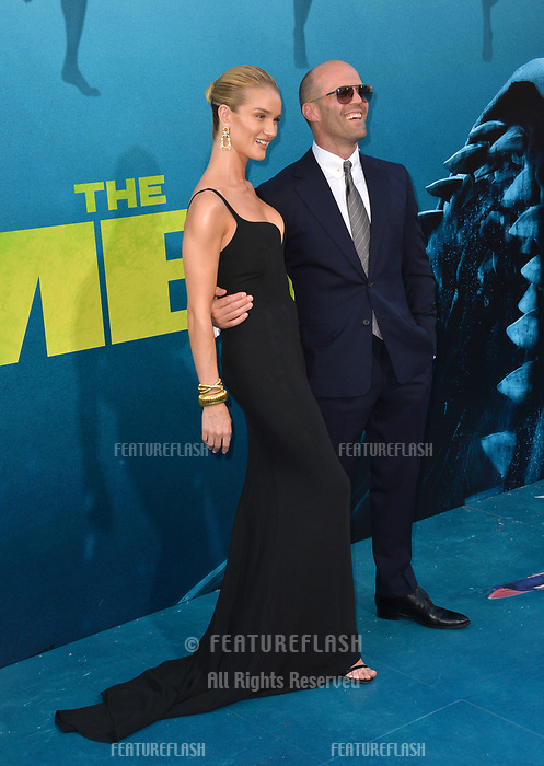 "LOS ANGELES, CA - August 06, 2018: Jason Statham & Rosie Huntington-Whiteley at the US premiere of ""The Meg"" at the TCL Chinese Theatre"