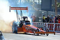 Oct. 26, 2012; Las Vegas, NV, USA: NHRA top fuel dragster driver Mike Salinas during qualifying for the Big O Tires Nationals at The Strip in Las Vegas. Mandatory Credit: Mark J. Rebilas-