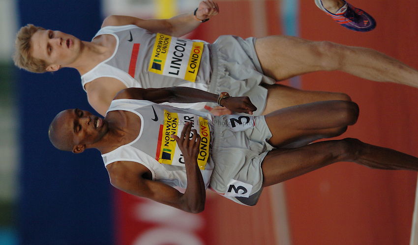 Photo. Henry Browne..Norwich Union London Grand Prix Athletics at Crystal Palace. 30/07/2004..Emsley Carr Mile..Cornelius Chirchir and Daniel Lincoln.