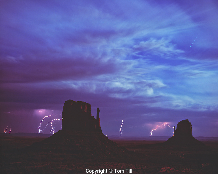 Moonlit Lightning, Monument Valley Tribal Park, Utah  Navajo Reservation   The Mittens Buttes