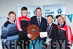 Tim Murphy County Board Chairman and John Long Chairman of Chapter 23 Credit Union presented Rathmore  the Division 2 Champions their prize money in Killarney on Monday night l-r: Donal Cremin, Mark Ryan, Tim Murphy County Board Chairman and John Long Chairman of Chapter 23 Credit Union  Mike Cronin