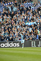 Claudio Bieler (16) forward Sporting KC celebrates his opening goal..Sporting Kansas City defeated Chivas USA 4-0 at Sporting Park, Kansas City, Kansas.