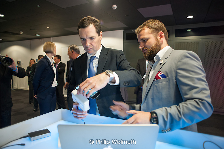 Chancellor of the Exchequer George Osborne.  Launch of Innovate Finance, Level39, Canary Wharf.