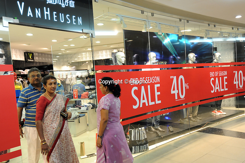 Sale sign in a shop at a big shopping mall in Madras, India