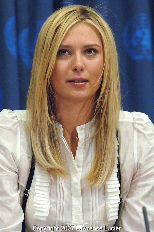 Tennis Star Maria Sharapova becomes the Goodwill Ambassador for the United Nations Development Programme February 14, 2007, at the United Nations in New York City.. (Pictured : MARIA SHARAPOVA).