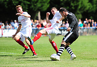 Lincoln City's Billy Knott under pressure from Lincoln United's Sean Wright, left, and Lincoln United's Luke Hornsey<br /> <br /> Photographer Chris Vaughan/CameraSport<br /> <br /> Football - Pre-Season Friendly - Lincoln United v Lincoln City - Saturday 8th July 2017 - Sun Hat Villas Stadium - Lincoln<br /> <br /> World Copyright &copy; 2017 CameraSport. All rights reserved. 43 Linden Ave. Countesthorpe. Leicester. England. LE8 5PG - Tel: +44 (0) 116 277 4147 - admin@camerasport.com - www.camerasport.com