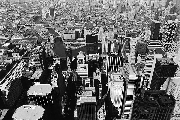 Downtown Chicago from Willis Tower in March 1996. (Photo by Laura Patterson/CQ Roll Call via Getty Images)