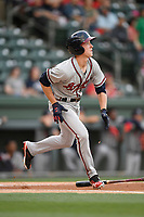 Center fielder Drew Waters (11) of the Rome Braves bats in a game against the Greenville Drive on Friday, April 13, 2018, at Fluor Field at the West End in Greenville, South Carolina. Rome won, 10-6. (Tom Priddy/Four Seam Images)