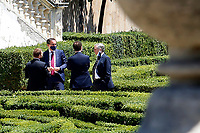 Ministers Giuseppe Provenzano, Vincenzo Boccia and the Governor of the Bank of Italy Ignazio Visco talking in the gardens of Villa Pamphilj, where the Italian Premier convened the States General of Economy. The summit was strictly behind closed doors and the press was kept outside. Rome (Italy), June 13th 2020<br /> Samantha Zucchi Insidefoto