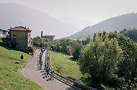 peloton up the first climb of the day; the Colle Gallo<br /> <br /> 112th Il Lombardia 2018 (ITA)<br /> from Bergamo to Como: 241km